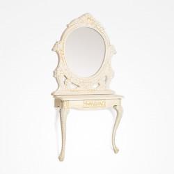 Mesa de Estetica & Maquilhagem com Espelho Dourado Lyra